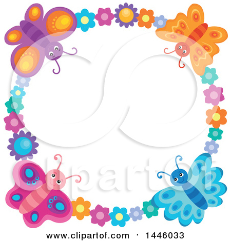 Clipart of a Round Colorful Flower and Butterfly Frame - Royalty Free Vector Illustration by visekart