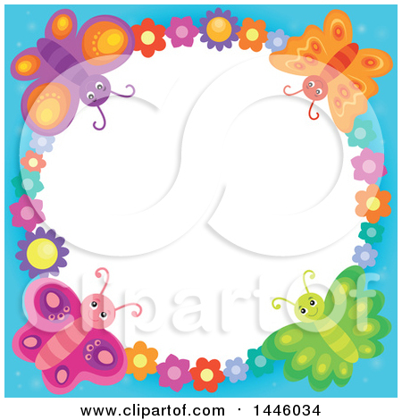 Clipart of a Round Colorful Flower and Butterfly Frame with Blue Edges - Royalty Free Vector Illustration by visekart