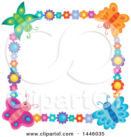Clipart of a Square Colorful Flower and Butterfly Frame - Royalty Free Vector Illustration by visekart