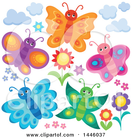 Clipart of a Group of Happy Butterflies and Flowers - Royalty Free Vector Illustration by visekart
