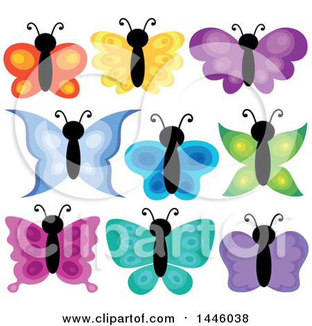 Clipart of Colorful Butterflies - Royalty Free Vector Illustration by visekart