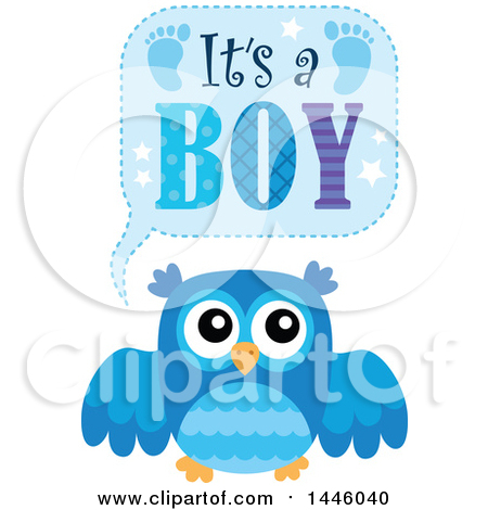 Clipart of a Blue Owl with Gender Reveal Its a Boy Text - Royalty Free Vector Illustration by visekart