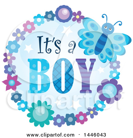 Clipart of a Round Flower and Butterfly Frame Around Gender Reveal Its a Boy Text - Royalty Free Vector Illustration by visekart
