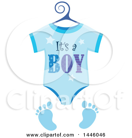 Clipart of a Blue Onesie with Gender Reveal Its a Boy Text and Footprints - Royalty Free Vector Illustration by visekart