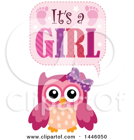 Pink Owl with Gender Reveal Its a Girl Text Posters, Art Prints