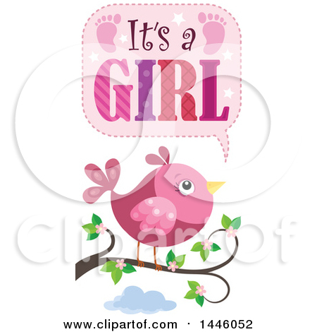 Pink Bird on a Branch with Gender Reveal Its a Girl Text Posters, Art Prints