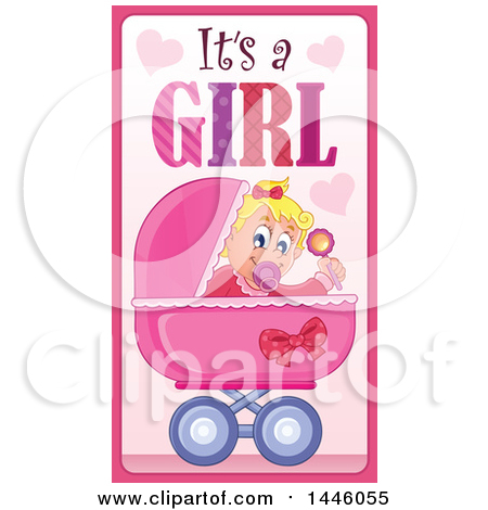 Caucasian Baby Girl in a Stroller with Gender Reveal Its a Girl Text Posters, Art Prints