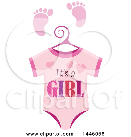 Clipart of a Pink Onesie with Gender Reveal Its a Boy Text and Footprints - Royalty Free Vector Illustration by visekart