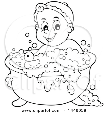 Clipart Of A Black And White Lineart Happy Baby Bathing In A Tub