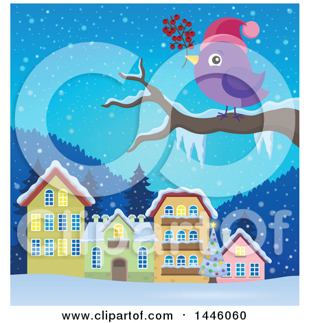 Clipart of a Purple Bird Holding Berries on a Tree Branch, Against a Winter Village - Royalty Free Vector Illustration by visekart