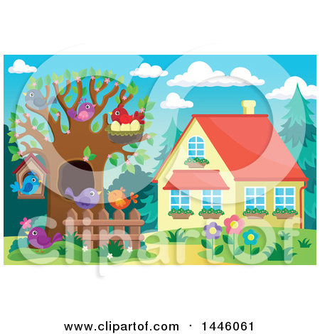 Clipart of a Spring Time Yard and House with Busy Birds in a Tree - Royalty Free Vector Illustration by visekart