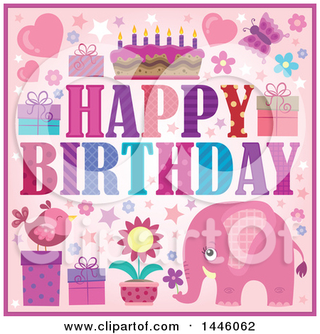 Clipart of a Happy Birthday Greeting and Icons with a Pink Elephant - Royalty Free Vector Illustration by visekart