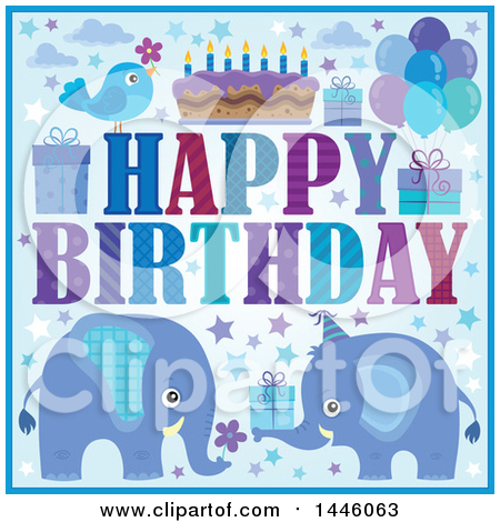 Clipart of a Happy Birthday Greeting and Icons with Blue Elephants - Royalty Free Vector Illustration by visekart