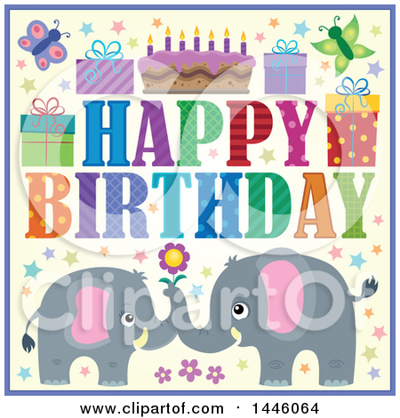 Clipart of a Happy Birthday Greeting and Icons with Gray Elephants - Royalty Free Vector Illustration by visekart