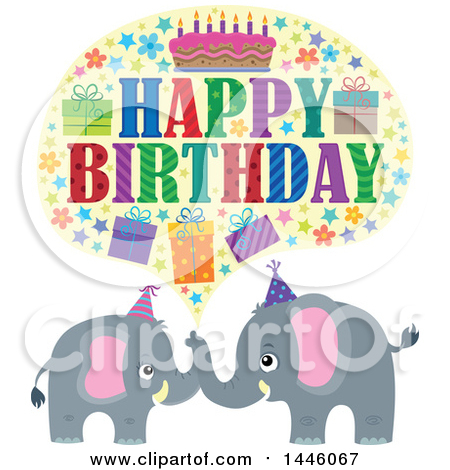 Clipart of a Happy Birthday Greeting with Icons over Gray Elephants - Royalty Free Vector Illustration by visekart