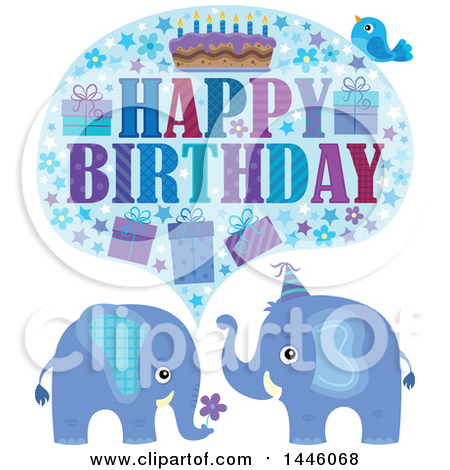 Clipart of a Happy Birthday Greeting and Bird over Blue Elephants - Royalty Free Vector Illustration by visekart