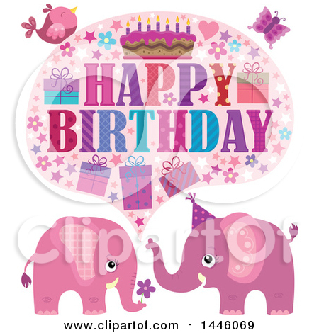 Clipart of a Happy Birthday Greeting with a Bird, Butterfly and Pink Elephants - Royalty Free Vector Illustration by visekart