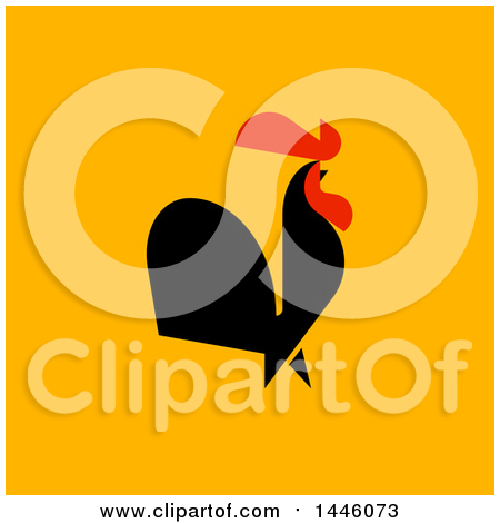 Clipart of a Flat Styled Crowing Rooster on Orange - Royalty Free Vector Illustration by elena