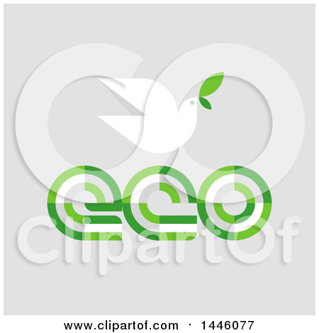 Clipart of a Peace Dove Flying with a Green Leaf over Eco Text, on Gray - Royalty Free Vector Illustration by elena