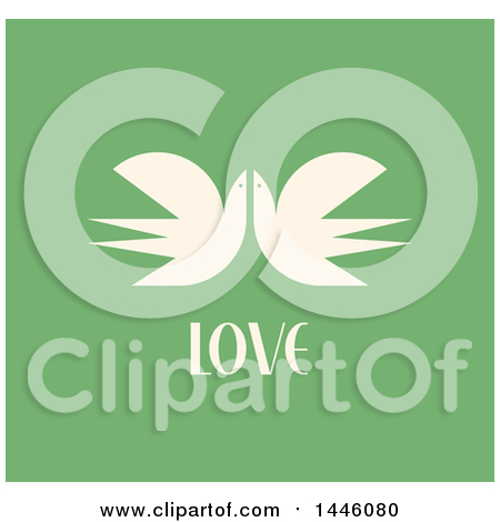 Clipart of a Retro Pair of Flying Cranes with Love Text on Green - Royalty Free Vector Illustration by elena