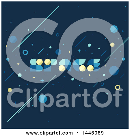 Clipart of a Retro Styled Background with Space Text - Royalty Free Vector Illustration by elena