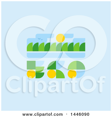 Clipart of a Retro Eco Design with Trees Birds and Sun - Royalty Free Vector Illustration by elena