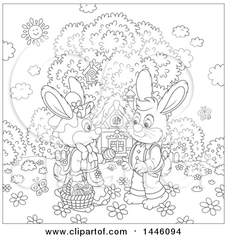Clipart of a Cartoon Black and White Lineart Cute Girl Bunny Giving a Boy Rabbit an Easter Egg on a Spring Day in Front of a Cottage - Royalty Free Vector Illustration by Alex Bannykh