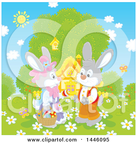 Clipart of a Cute Female Bunny Giving a Boy Rabbit an Easter Egg on a Spring Day in Front of a Cottage - Royalty Free Vector Illustration by Alex Bannykh