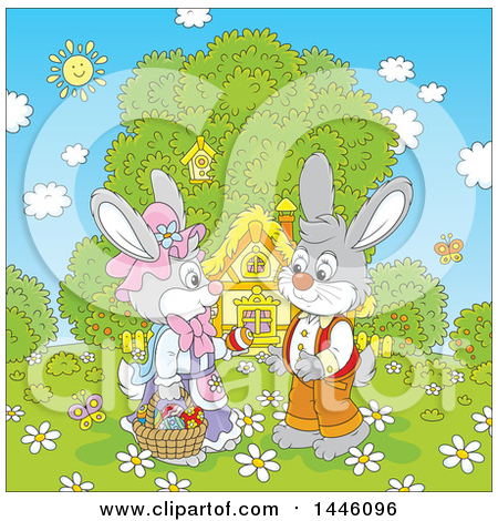 Clipart of a Cartoon Cute Girl Bunny Giving a Boy Rabbit an Easter Egg on a Spring Day in Front of a Cottage - Royalty Free Vector Illustration by Alex Bannykh
