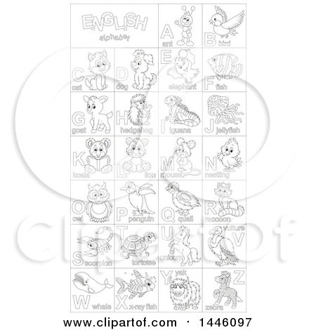 Clipart of a Black and White Lineart Chart of Cute Animals and Insects with Alphabet Letters - Royalty Free Vector Illustration by Alex Bannykh