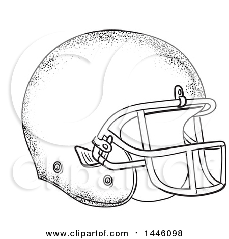 Clipart of a Sketched Styled American Football Helmet - Royalty Free Vector Illustration by patrimonio