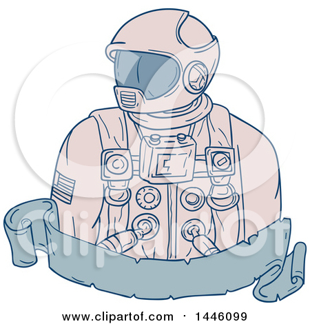 Clipart of a Sketched Styled Astronaut Bust over a Blank Banner - Royalty Free Vector Illustration by patrimonio