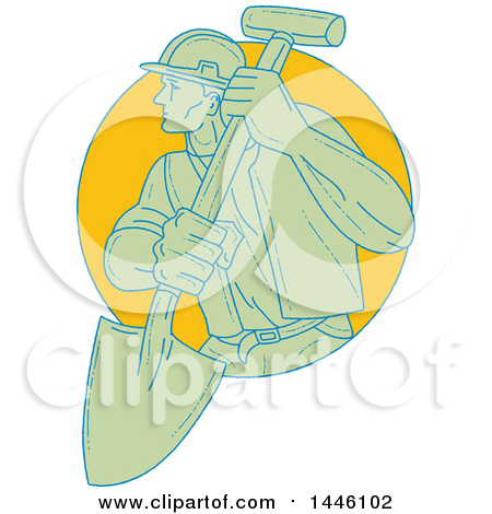 Clipart of a Sketched Styled Construction Worker Wearing a Hardhat and Holding a Shovel, Emerging from a Circle - Royalty Free Vector Illustration by patrimonio