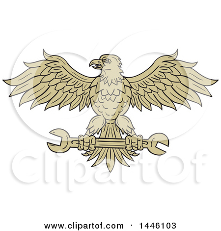 Clipart of a Sketched Styled American Bald Eagle Flying with a Spanner Wrench - Royalty Free Vector Illustration by patrimonio