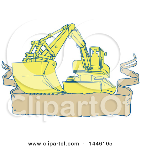 Clipart of a Sketched Styled Mechanical Digger Excavator over a Banner - Royalty Free Vector Illustration by patrimonio