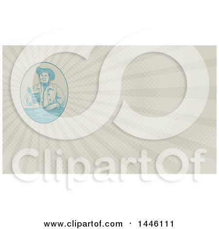 Clipart of a Sketched Styled Medieval Gentleman Holding a Beer Tankard and Rays Background or Business Card Design - Royalty Free Illustration by patrimonio