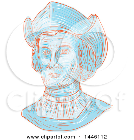 Clipart of a Sketched Bust of Christopher Columbus or Cristoforo Colombo, an Italian Explorer, Navigator, Colonizer, and Citizen of the Republic of Genoa - Royalty Free Vector Illustration by patrimonio