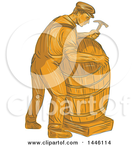 Clipart of a Sketched Styled Male Cooper Making a Barrel in Orange Tones - Royalty Free Vector Illustration by patrimonio