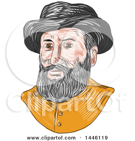 Clipart of a Sketched Bust of Ferdinand Magellan Aka Fernando De Magallanes, a Portuguese Explorer - Royalty Free Vector Illustration by patrimonio