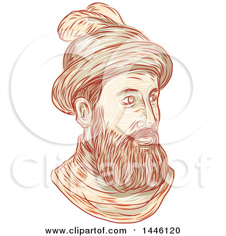 Clipart of a Sketched Bust of Francisco Pizarro Gonzalez, a Spanish Conquistador - Royalty Free Vector Illustration by patrimonio