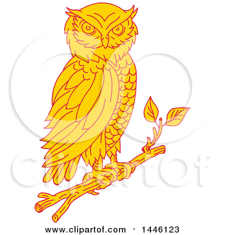 Clipart of a Mono Line Styled Great Horned Owl Perched on a Branch - Royalty Free Vector Illustration by patrimonio