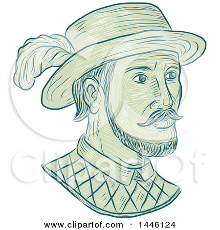 Clipart of a Sketched Bust of Juan Ponce De Leon, a Spanish Explorer and Conquistador - Royalty Free Vector Illustration by patrimonio