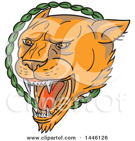 Clipart of a Tattoo Styled Lioness Head Roaring in a Circle of Leaves - Royalty Free Vector Illustration by patrimonio