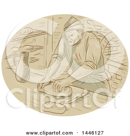 Clipart of a Sketched Styled Medieval Baker Kneading Dough in a Kitchen - Royalty Free Vector Illustration by patrimonio