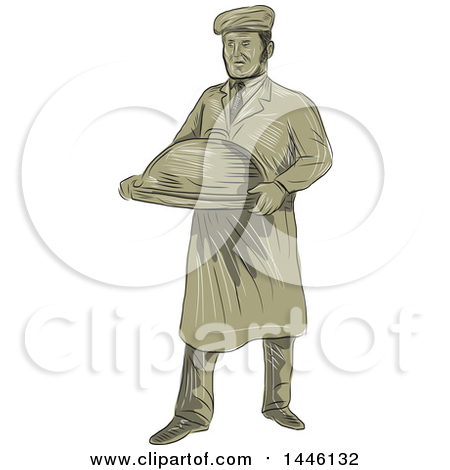 Clipart of a Retro Sketched Styled Victorian Male Waiter Holding a Cloche Platter - Royalty Free Vector Illustration by patrimonio