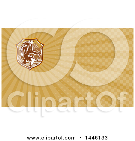 Clipart of a Retro Woodcut Man Hiking over Mountains in a Brown Shield and Rays Background or Business Card Design - Royalty Free Illustration by patrimonio