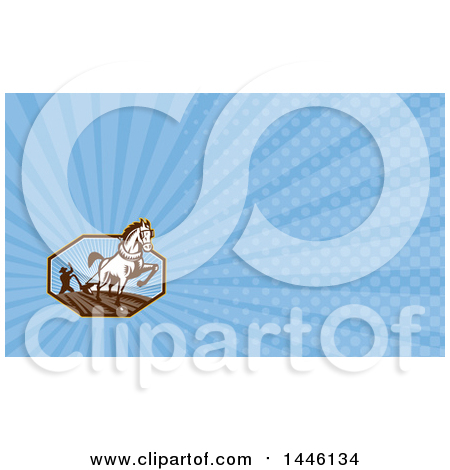 Clipart of a Retro Woodcut Horse Pulling a Plow and a Farmer in an Octagon and Blue Rays Background or Business Card Design - Royalty Free Illustration by patrimonio