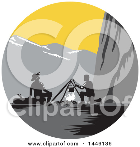 Clipart of a Retro Woodcut Mountainous Camp with Men Around a Fire - Royalty Free Vector Illustration by patrimonio