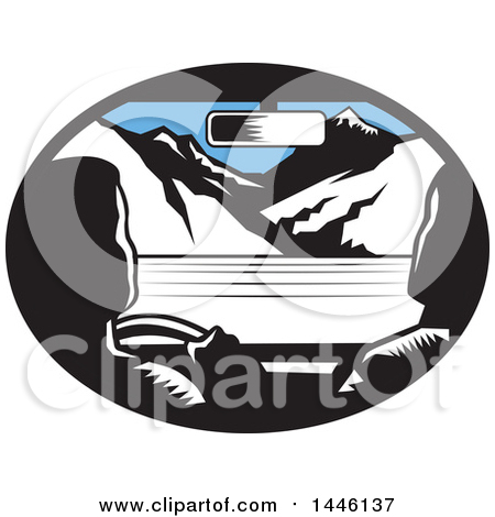 Clipart of a Retro Woodcut Driver and Passenger in a Car, Heading Towards Mountains - Royalty Free Vector Illustration by patrimonio