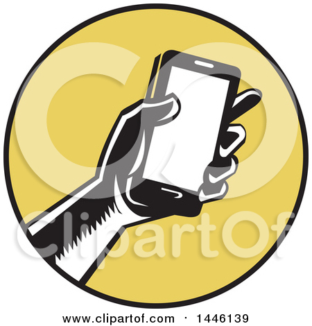 Clipart of a Retro Woodcut Hand Holding a Smart Phone in a Yellow and Black Circle - Royalty Free Vector Illustration by patrimonio
